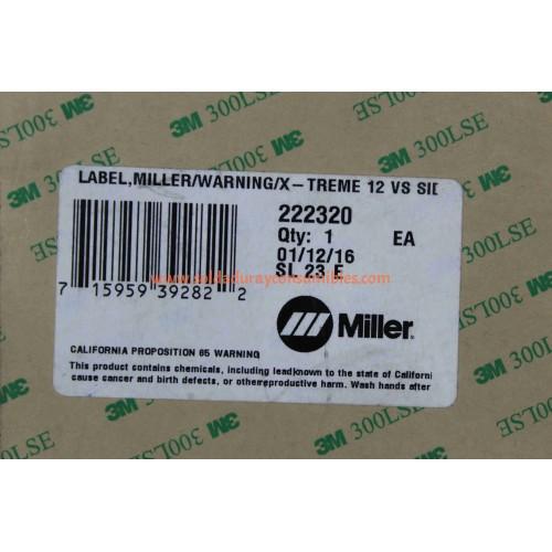 Label Miller/Warning/X-treme 12VS Side Miller 222320